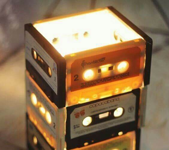 A lamp made from cassettes.