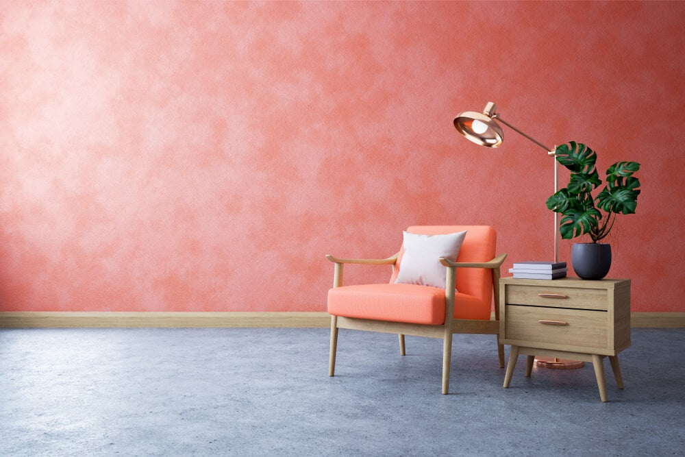 Pared en Living Coral.