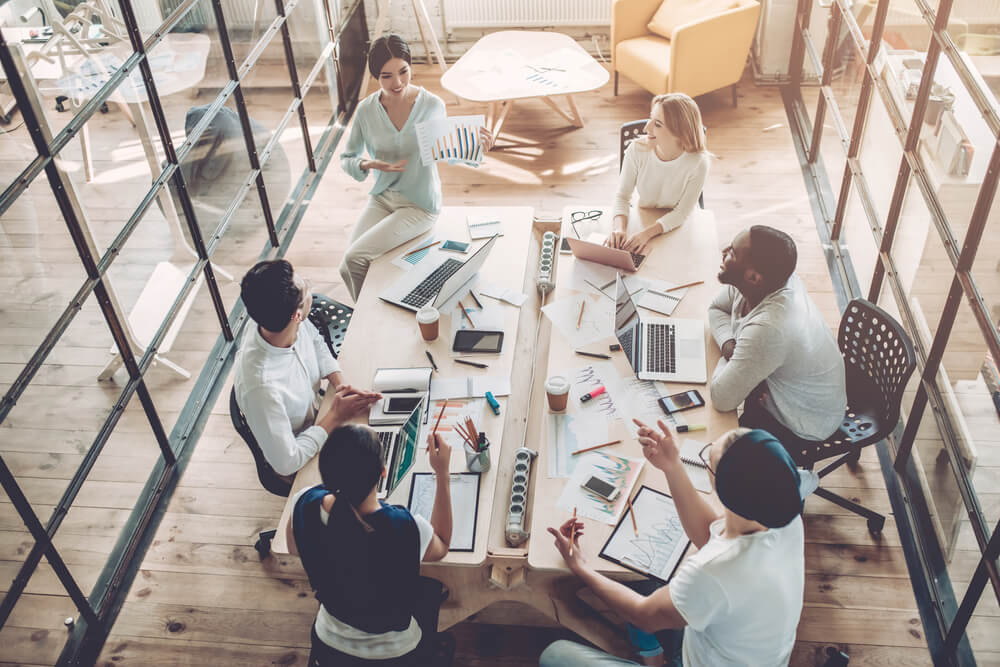 Coworking meeting rooms allow for open communication.