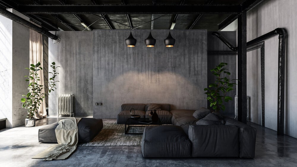 Salón negro minimalista.
