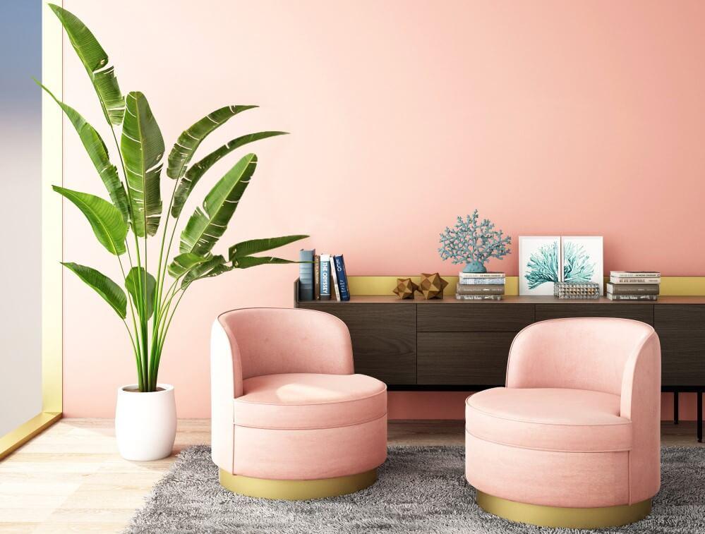Salón rosa palo.