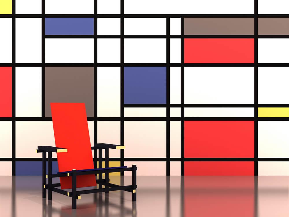 Silla y pared de Mondrian.