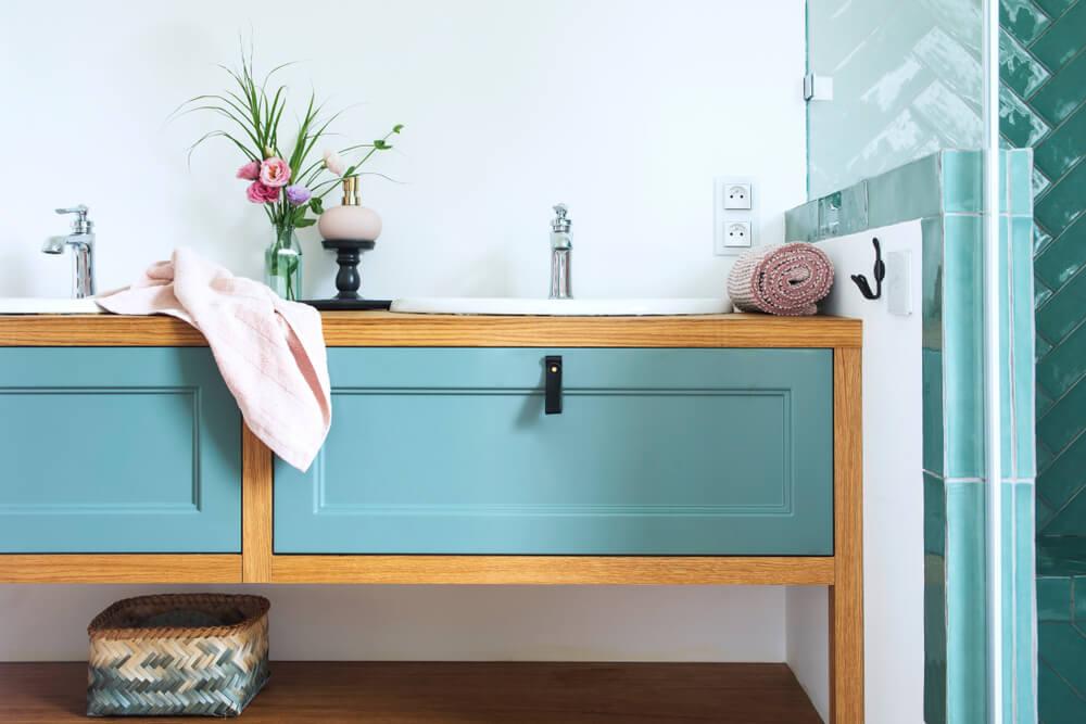 Combinación de colores para el baño.