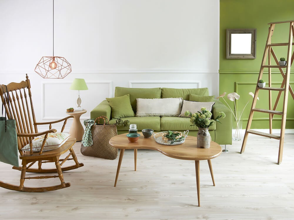 Detalles del salón en verde pistacho.