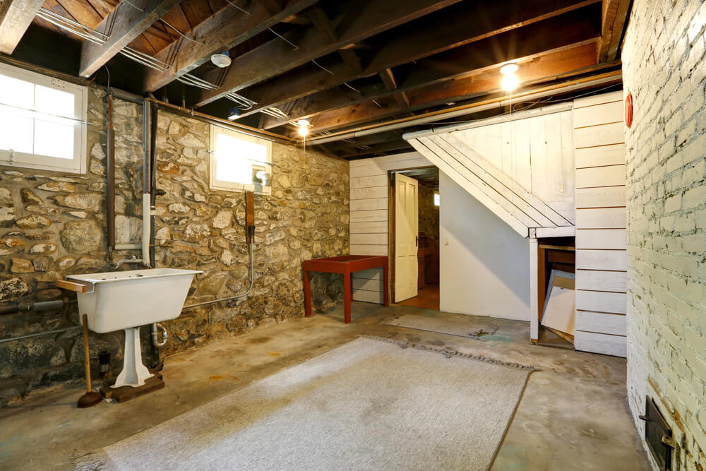 Brick or stone basements are susceptible to damp.