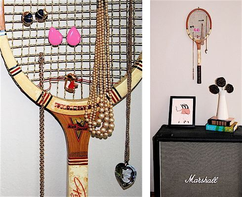Tennis racket jewelry organizer.