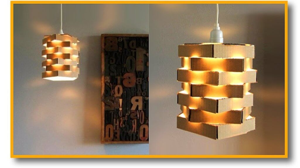 Lámpara hecha con cajas de cartón.