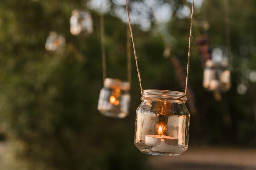 Mason Jar con velas.