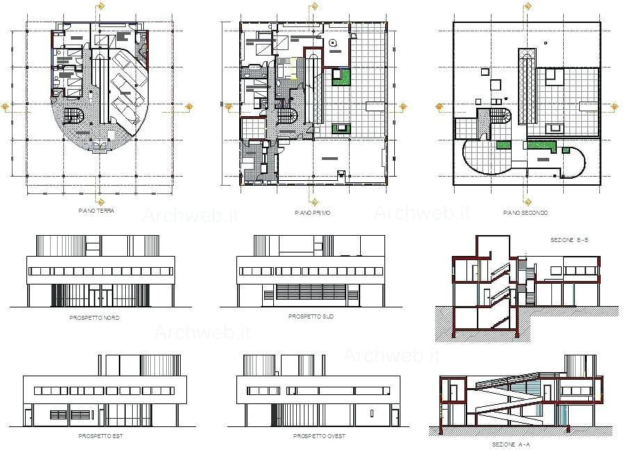 Planos de la Villa Savoye.