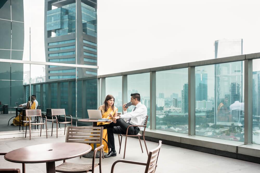 Terraza para oficinas coworking.