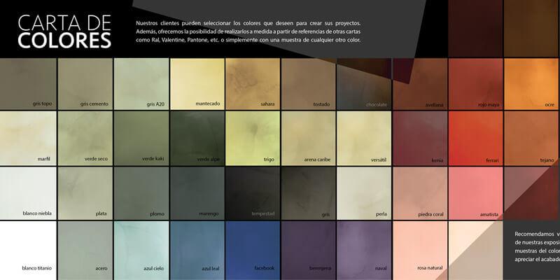 Colores del microcemento.