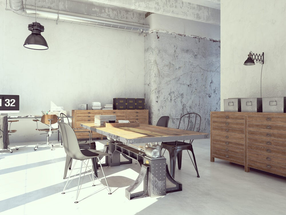 Rustic and industrial fusion.
