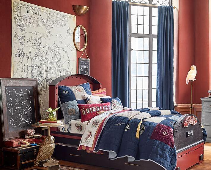 Dormitorio de decoración Harry Potter.