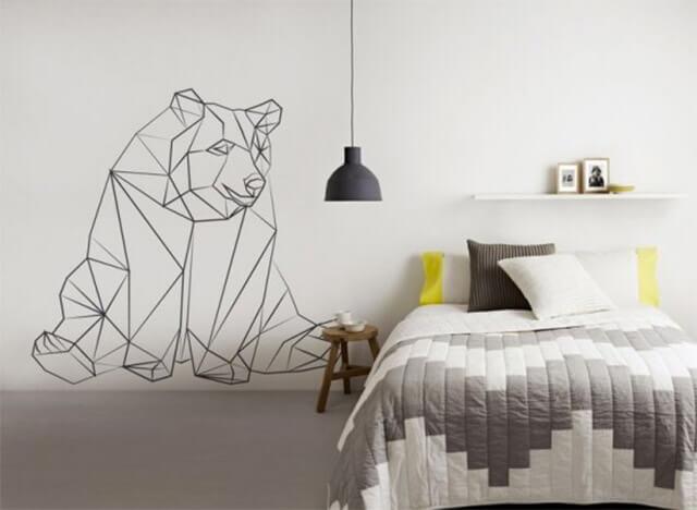 Geometric wall decorations.