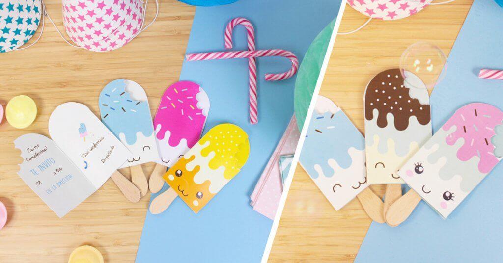 Invitación de cumpleaños con forma de helado.