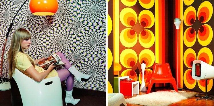 Papeles de pared con motivos geométricos.