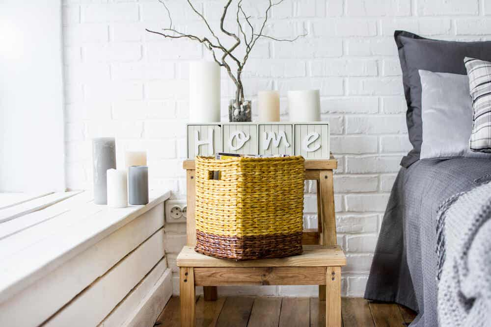 Wicker basket for bedroom.