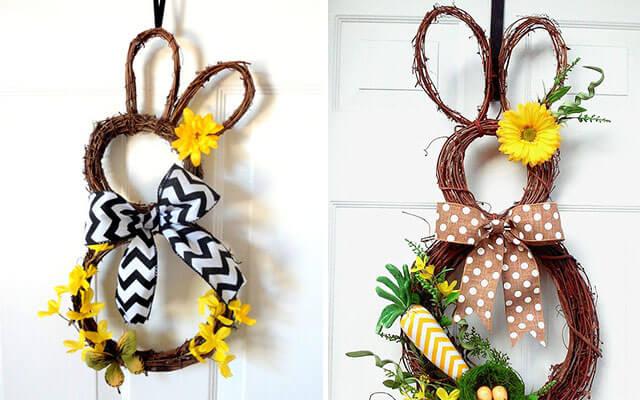 Conejos de mimbre para hacer una corona.