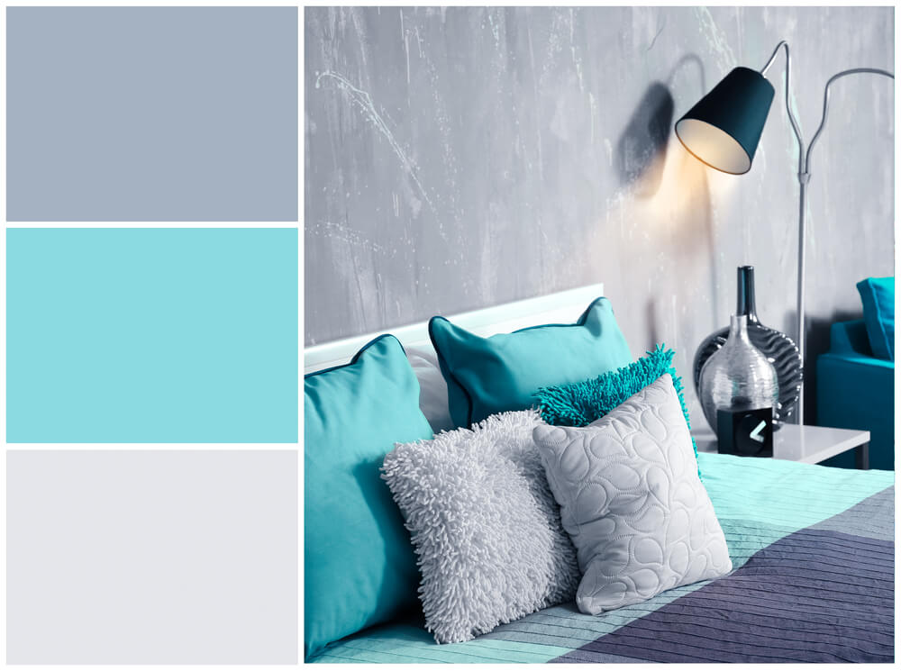 Dormitorio playero en turquesa.