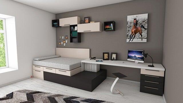 Preciosas habitaciones para estudiantes en gris y suelo blanco