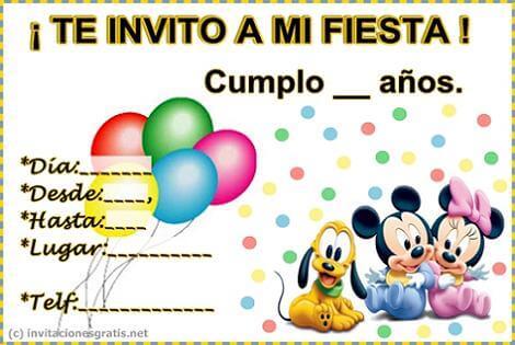 Invitación de cumpleaños Disney.