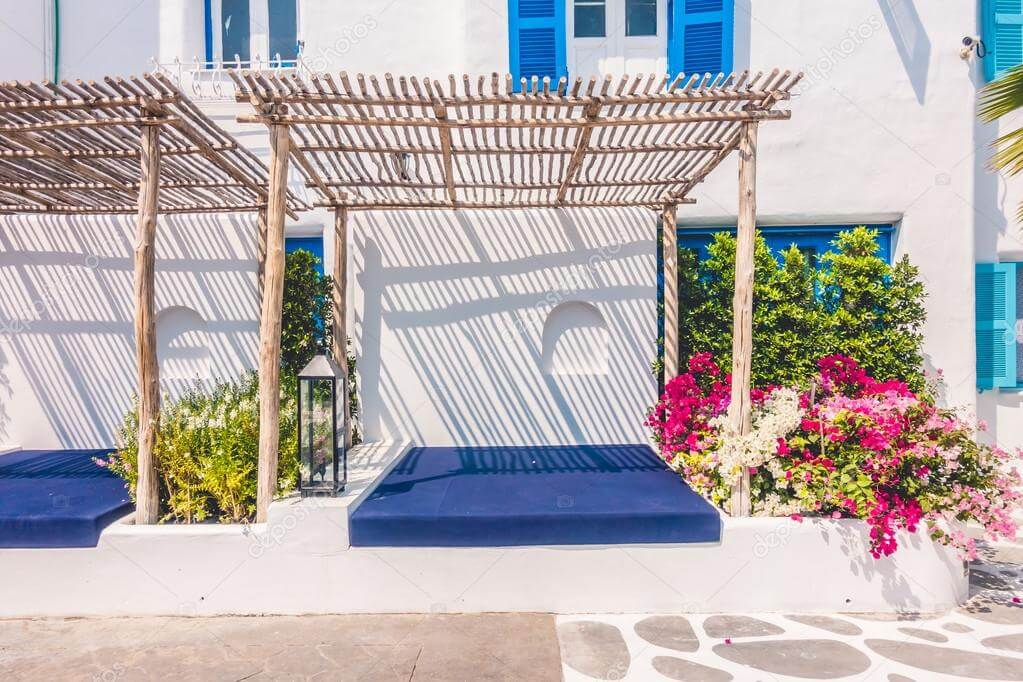 Jardín de estilo Santorini.