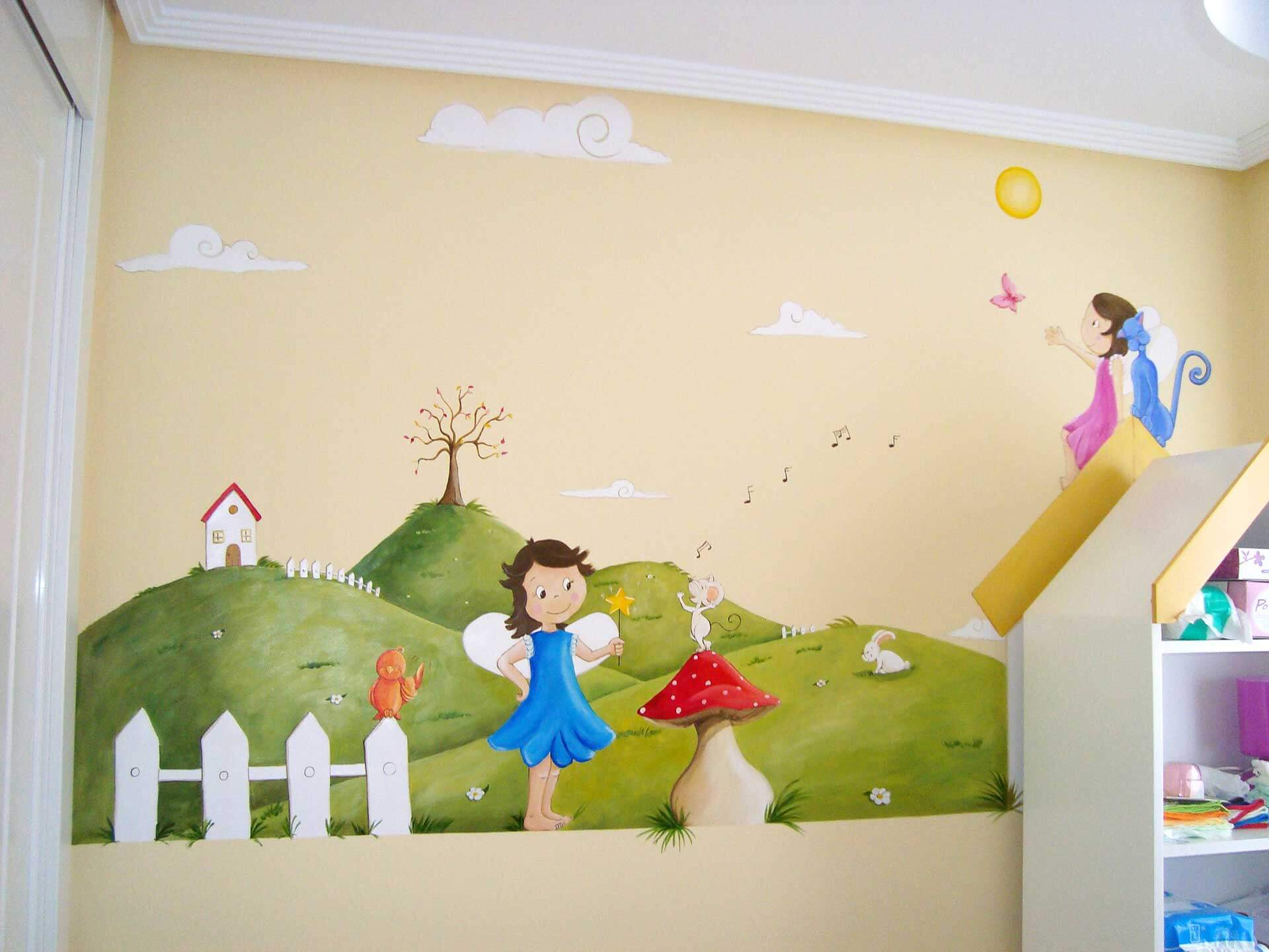 Murales de personajes infantiles.