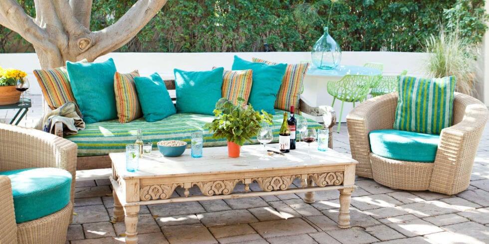 Terraza de color turquesa.