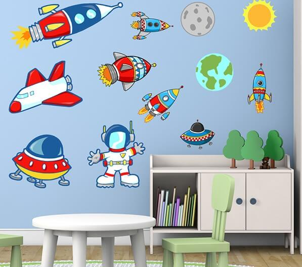 Space themed wall decor.