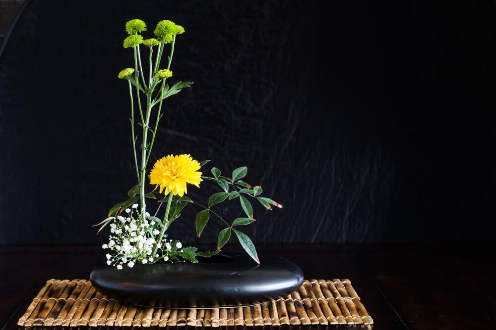 Ikebana moribana.