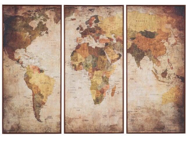 Tríptico de un mapa.