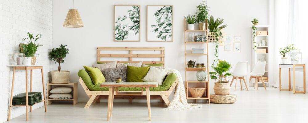 Detalles decorativos en verde musgo.