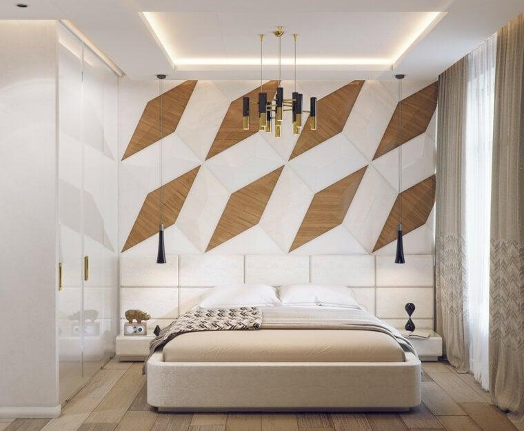 Dormitorio con geometría en 3D.