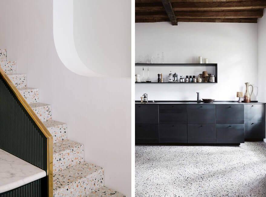 Escaleras y suelo de terrazo.
