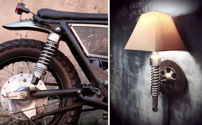 Lámpara hecha con un amortiguador.
