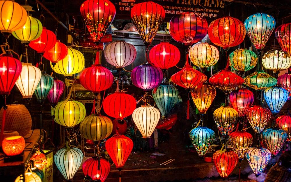 Lámparas chinas modernas.