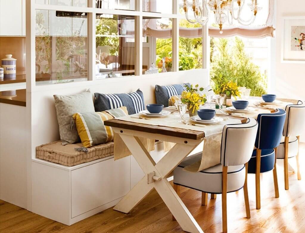 Banco y mesa para cocina.