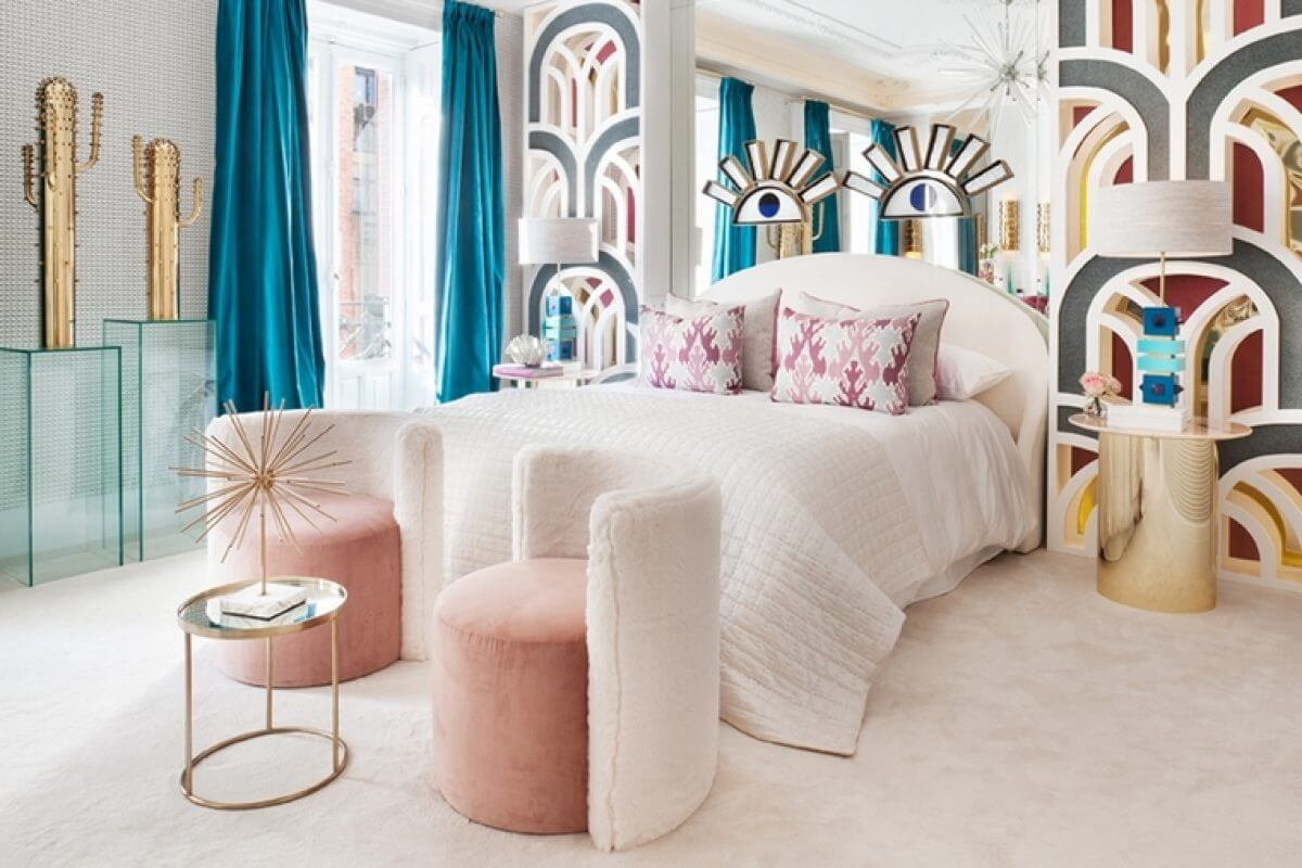 Colores y texturas de un dormitorio art déco.