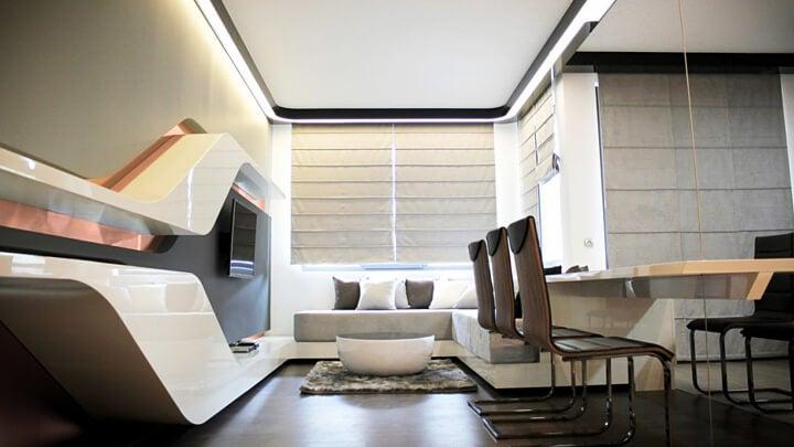 Decoración de un salón futurista.