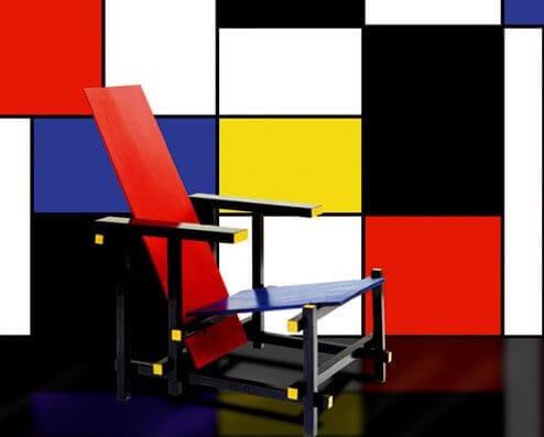 Influencia de Mondrian en la silla Roja y Azul.