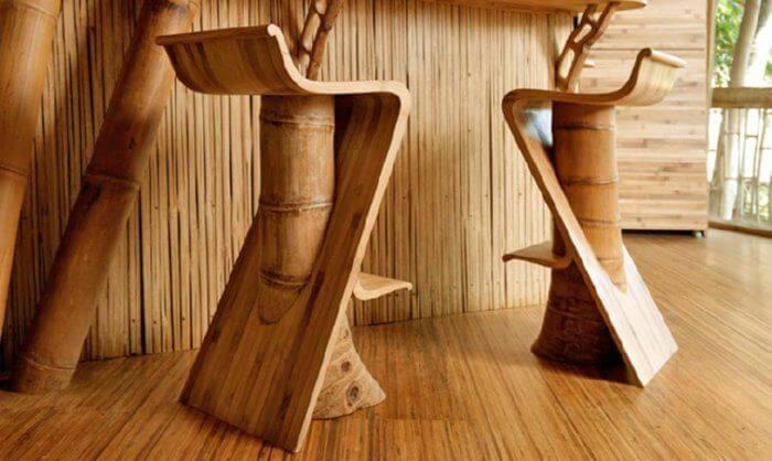 Mobiliario de bambú.