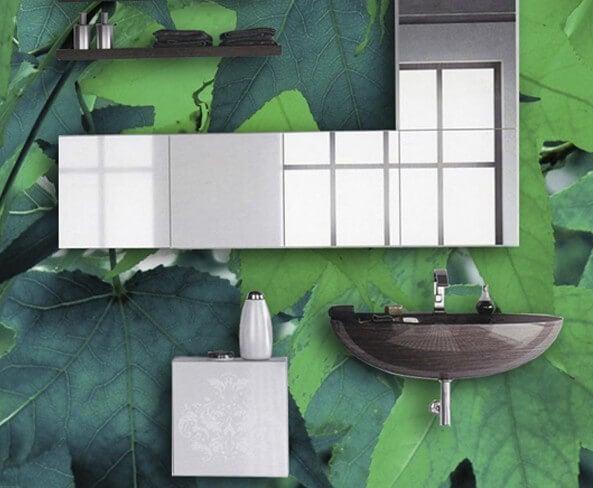 Mural de hojas para el baño.
