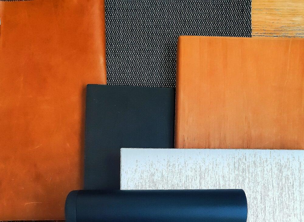 Moodboard with fabrics.