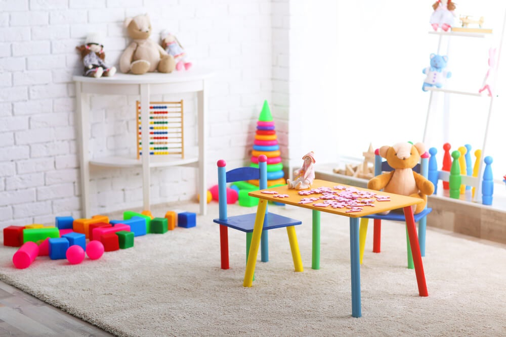 Zona de juegos para una habitación infantil.