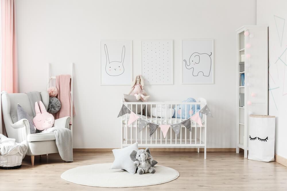 Almacenamiento para la habitación del bebé.