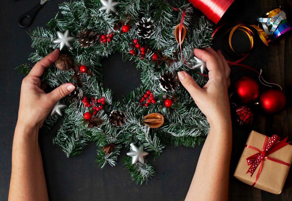Corona de navidad hecha en casa
