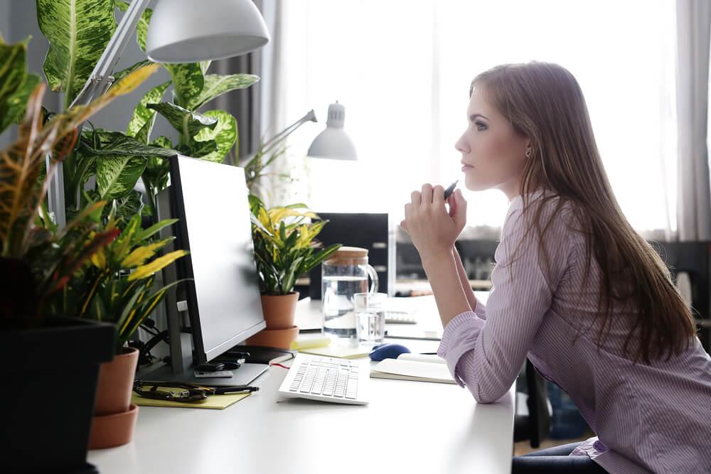 Plantas en la oficina.