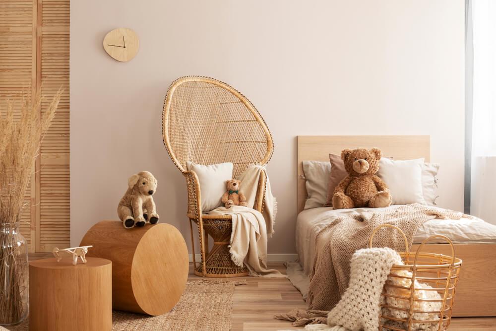 Suelo de madera en una habitación infantil.