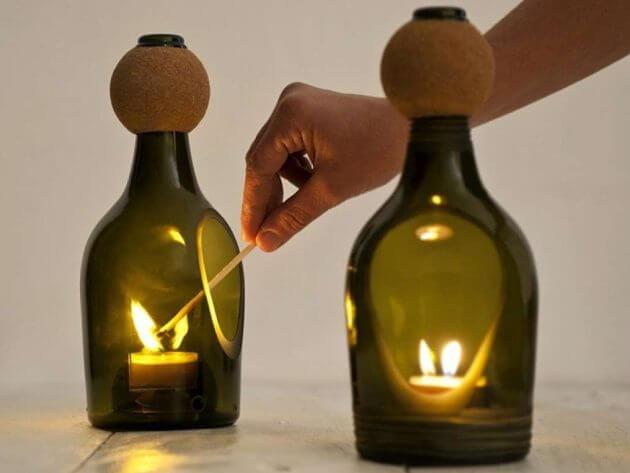Reutilización de botellas de vino en la decoración del hogar