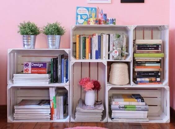 Libreros originales hechos con cajas de madera